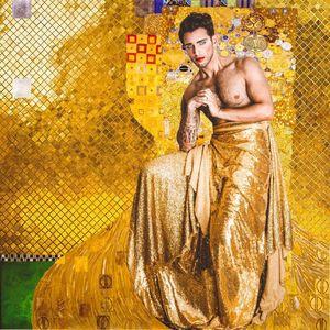"Photo collage by Mario Elias Jaroud ""Self-Portrait as Adele Bloch-Bauer"" Klimt 1907 #MarioElíasJaroud #kindasupermario #arthistory #contemporaryphotography #fineart #tattoocollector #selfportrait"