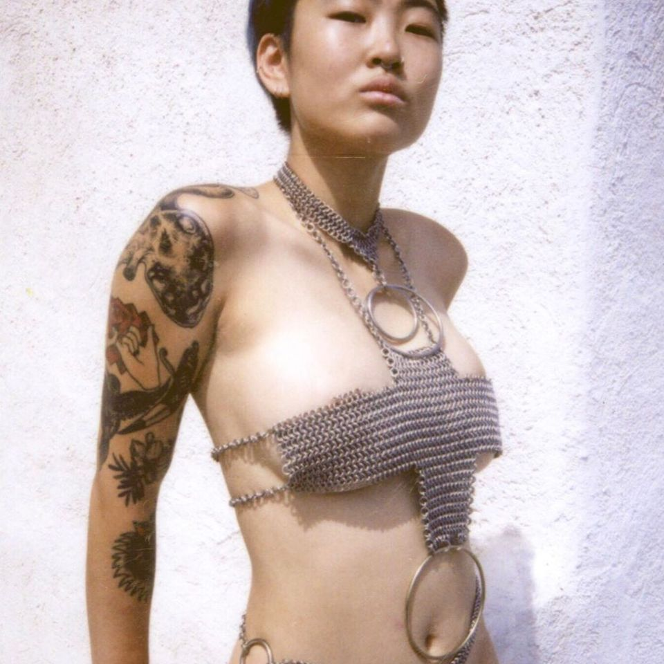 Cley aka cley.jpg wearing Affect Metals #AffectMetals #tattoocollector #queerarmor #chainmail #metalworking #lingerie #fashion #style #jewelry #sextoys #fetishwear