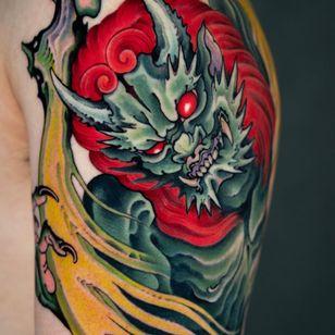 Raijin tattoo by Jin Q #JinQ #SeoulInkTattoo #Seoul #Korea #Seoultattoo #Seoultattooartist #Seoultattooshop #raijin #japanese #irezumi #color #neojapanese