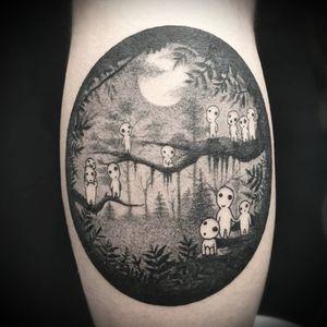 Kodama tattoo by Juliette Last #JulietteLast #kodama #forestspirit #yokai #forest #StudioGhibli #anime #manga #movie #princessmononoke