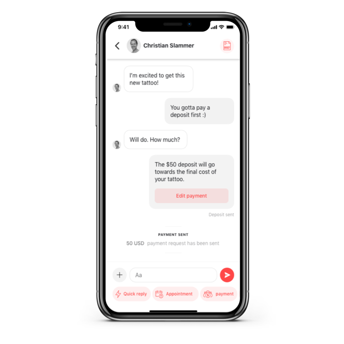 Directly message with artists, securely in the app.