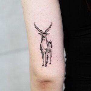 Yakul tattoo by honma tat #honmatat #yakul #elk #princessmononoke #StudioGhibli #anime #manga #movie