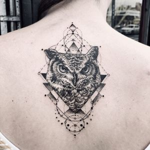 Illustrative tattoo by Fan Wu #FanWu #illustrative #linework #drawing #geometric #owl #backtattoo