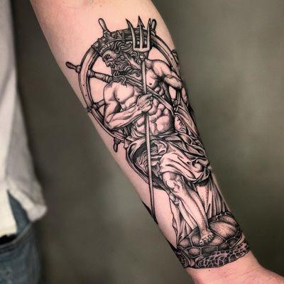 Neptune tattoo with trident tattoo by Nero Tattooer #NeroTattooer #tridenttattoo #trident #neptune #illustrative