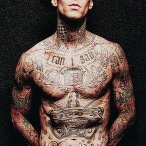 Travis Barker's plethora of tattoos #TravisBarker #bestrockstartattoos #blackandgrey #musictattoos #poppunk #Blink182