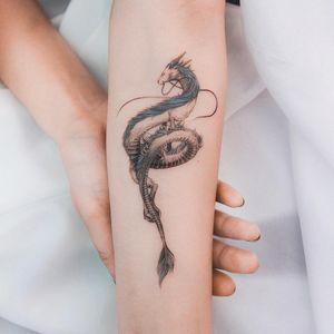 Haku tattoo by Ghinko #Ghinko #haku #hakutattoo #dragon #Japanesespirit #rivergod #water #deity #SpiritedAway #StudioGhibli #anime #manga #movie