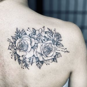 Illustrative tattoo by Fan Wu #FanWu #illustrative #linework #drawing #flower #back