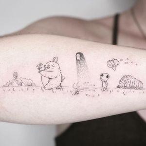 Studio Ghibli tattoo by pt78tattoo #pt78tattoo #StudioGhibli #anime #manga #movie #totoro #noface #kodama #ohmu #nausicaa #laputa #ponyo