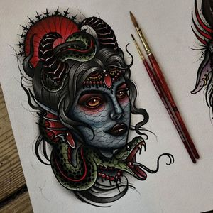 Painting by Ick Abrams #IckAbrams #tattooartistart #tattooart #tattooflash #tattooartwork