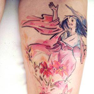 Princess Kaguya tattoo by Julia Millo #JuliaMillo #PrincessKaguya #Kaguya #princess #watercolor #flowers #portrait #StudioGhibli #anime #manga #movie
