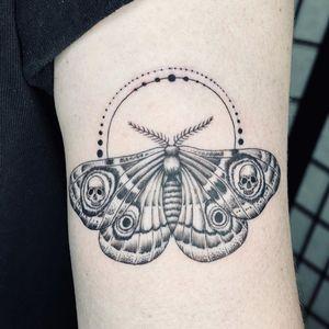 Illustrative tattoo by Fan Wu #FanWu #illustrative #linework #drawing #moth #skull #arm