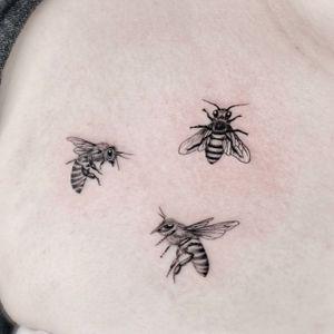 Illustrative tattoo by Fan Wu #FanWu #illustrative #linework #drawing #insect #nature #bee