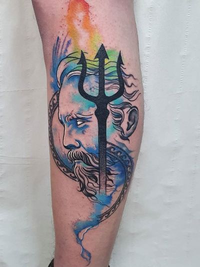Trident tattoo by Lyndon Minor Tattoo #LyndonMinorTattoo #LyndonMinor #tridenttattoo #trident #watercolor #illustrative #portrait #neptune
