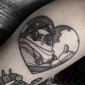 Porco Rosso tattoo by raineisonfire #raineisonfire #heart #porcorosso #scarletpig #pig #pilot #StudioGhibli #anime #manga #movie