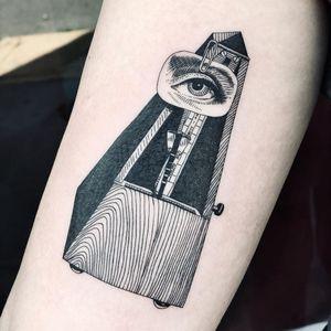 Illustrative tattoo by Fan Wu #FanWu #illustrative #linework #drawing #metronome #eye #manray #arm