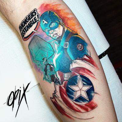 #RogerioOpix #OpixTattoo #nerd #geek #capitaoamerica #captainamerica #vingadores #avengers #escudo #shield #filmes #movies #martelo #hammer #mjolnir #thor #colorida #colorfull