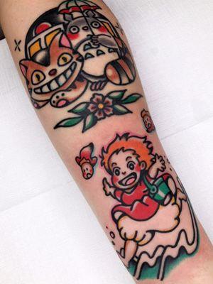 Studio Ghibli tattoo by Red Lip Tattoo #Redliptattoo #StudioGhibli #anime #manga #movie #ponyo #catbus #totoro #flowers #floral