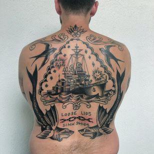 Back tattoo by Mike Ski #MikeSki #truehand #traditional #ship