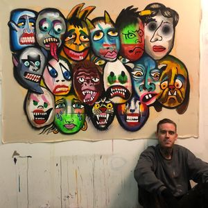 Tattoo artist Jeff Sypherd in his studio with one of his paintings #JeffSypherd