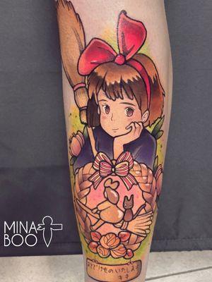 Kiki tattoo by mina boo #minaboo #kiki #jiji #kikisdeliveryservice #witch #StudioGhibli #anime #manga #movie