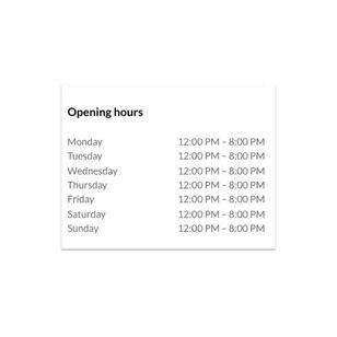 Set your opening hours and location for prospective clients.