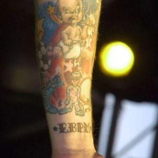 Billie Joe Armstrong's smoking baby tattoo #GreenDay #bestrockstartattoos #punkrock #BillieJoeArmstrong