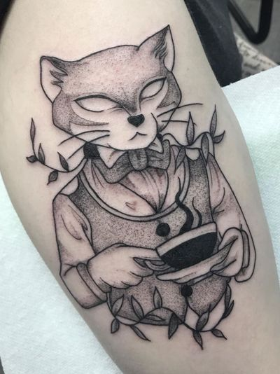 Baron from The Cat Returns tattoo by amberrywilson #amberrywilson #TheCatReturns #Baron #illustrative #cat #floral #leaves #coffee #tea #StudioGhibli #anime #manga #movie