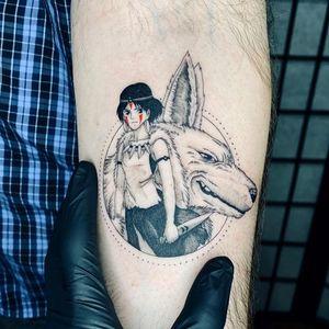 Illustrative tattoo by Fan Wu #FanWu #illustrative #linework #drawing #studioghibli #princessmononoke #arm #wolf #anime