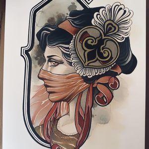 Painting by Vale Lovette #ValeLovette #tattooartistart #tattooart #tattooflash #tattooartwork