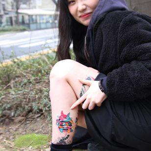 Totoro tattoo by Polyc SJ #PolycSJ #seoul #korea #color #watercolor #popart #newschool #totoro #cute #studioghibli