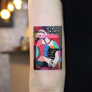 Picasso tattoo by Polyc SJ #PolycSJ #seoul #korea #color #watercolor #popart #newschool #picasso #woman