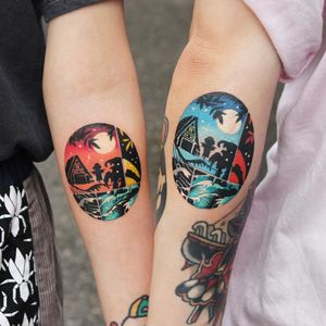 Matching tattoos by Polyc SJ #PolycSJ #seoul #korea #color #watercolor #popart #newschool #landscape #trpoical #beach #palmtree