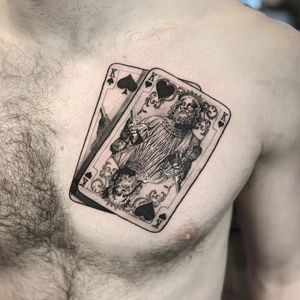 Playing cards chest tattoo by Lil Jeon #LilJeon #blackandgrey #realism #playingcards #king #queen #chest #poker #portrait