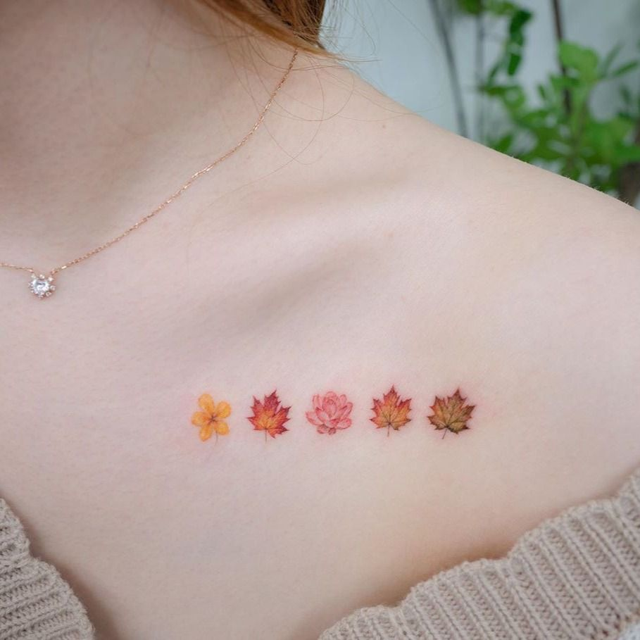 Watercolor tattoo by Donghwa of Studio by Sol #Donghwa #StudiobySol #Seoul #Koreanartist #Koreantattooartist #watercolor #fineline #detailed #color #nature #floral #leaves #fallleaves #fall #rose