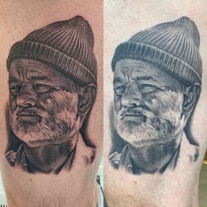 Client photo of a healed tattoo by #Bob Tyrrell #BobTyrrell #healedtattoo #tattoohealed #stevezissou #BillMurray #portrait #realitim