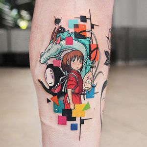 Spirited Away tattoo by Polyc SJ #PolycSJ #seoul #korea #color #watercolor #popart #newschool #spiritedaway #studioghibli #noface #haku #sootsprites #chihiro