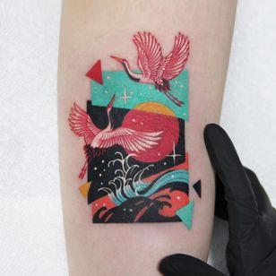 Crane tattoo by Polyc SJ #PolycSJ #seoul #korea #color #watercolor #popart #newschool #crane #waves