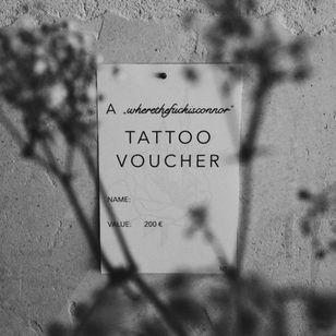 Tattoo voucher by wherethefuckisconner #wherethefuckisconnor #tattoovoucher #supporttattooists #supportartists #tattooart #tattoovoucher #tattoomerch #tattooinspo
