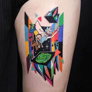 Rick and Morty tattoo by Polyc SJ #PolycSJ #seoul #korea #color #watercolor #popart #newschool #rickandmorty