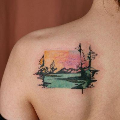 Landscape tattoo by Isle Tattoo #IsleTattoo #NoNameTattoo #Seoul #Koreantattooartist #femaletattooartist #watercolor #landscape #surreal #sunset #trees