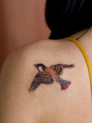 Bird tattoo by Isle Tattoo #IsleTattoo #NoNameTattoo #Seoul #Koreantattooartist #femaletattooartist #illustrative #bird #feathers #fly #shoulder