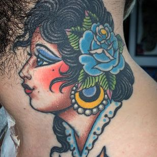 Client photo of a healed tattoo by Valerie Vargas of Modern Classic #ValerieVargas #ModernClassic #traditional #ladyhead #neck #rose #healedtattoo #tattoohealed