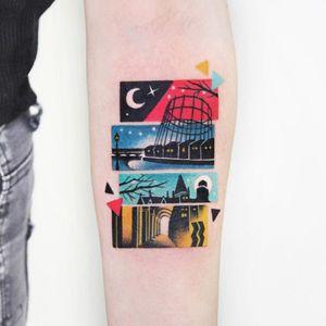 Cityscape tattoo by Polyc SJ #PolycSJ #seoul #korea #color #watercolor #popart #newschool #building #architecture #moon #cityscape