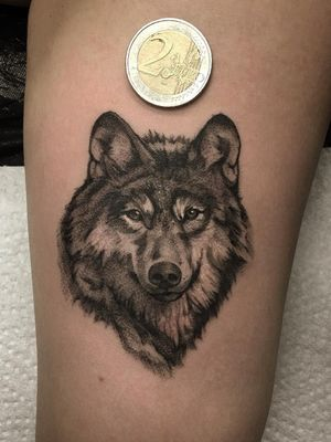 Wolf tattoo by Lil Jeon #LilJeon #blackandgrey #realism #wolf #animal