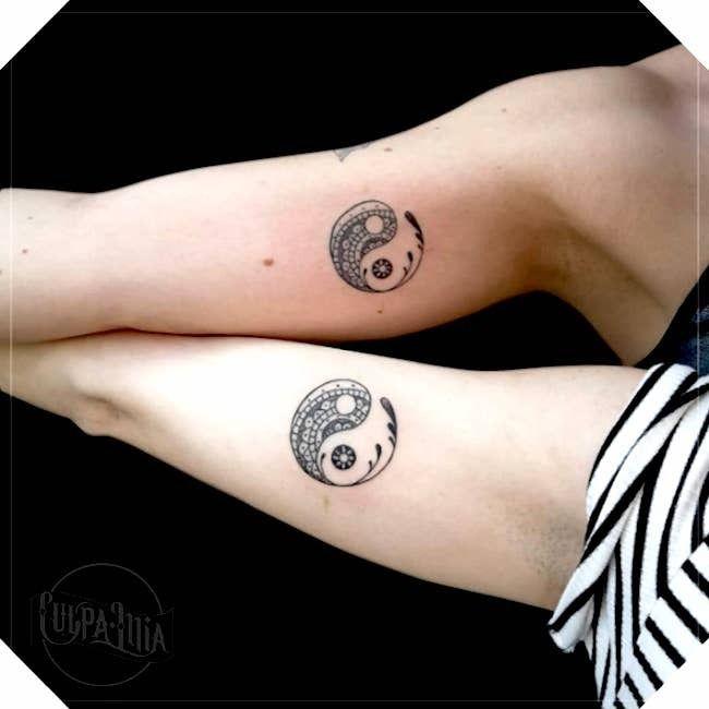 Matching yin yang tattoo by Culpa Lilia #CulpaLilia #YinYangtattoos #YinYang #Chinese #symbol