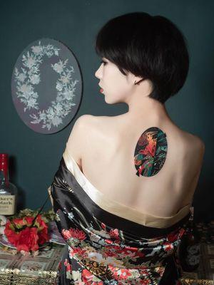 Back tattoo by Polyc SJ #PolycSJ #seoul #korea #color #watercolor #popart #newschool #mucha #alphonsemucha #artnouveau