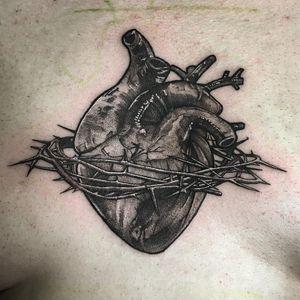 Anatomical heart tattoo by Lil Jeon #LilJeon #blackandgrey #realism #heart #anatomicalheart #thorns #chest