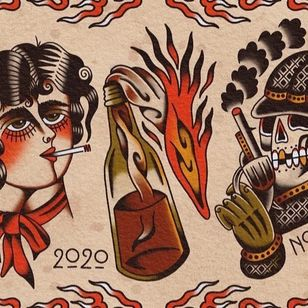 Tattoo flash painting by Marcus Norrild #MarcusNorrild #supporttattooists #supportartists #tattooart #tattooprint #tattoopainting #tattoomerch #tattooinspo