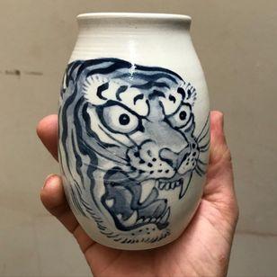 Pottery by Chris Garver #ChrisGarver #FivePointsTattoo #supporttattooists #supportartists #tattooart #tattoopottery #tattoomerch #tattooinspo #tiger