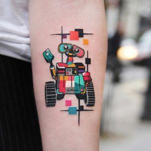 Wall-E tattoo by Polyc SJ #PolycSJ #seoul #korea #color #watercolor #popart #newschool #pixar #disney #walle #robot